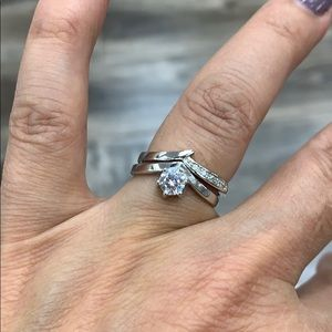 Jewelry - Sterling Silver Engagement Ring Wedding Band 2pc
